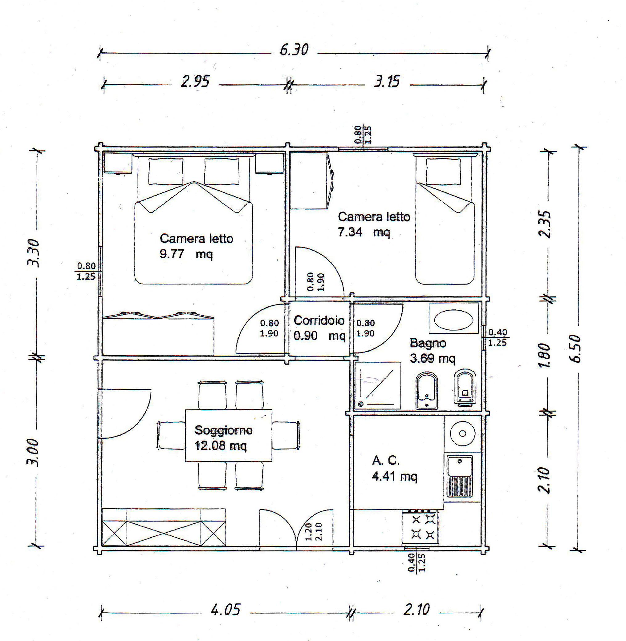 Piantina appartamento con misure ispirazione interior for Progetto casa 75 mq