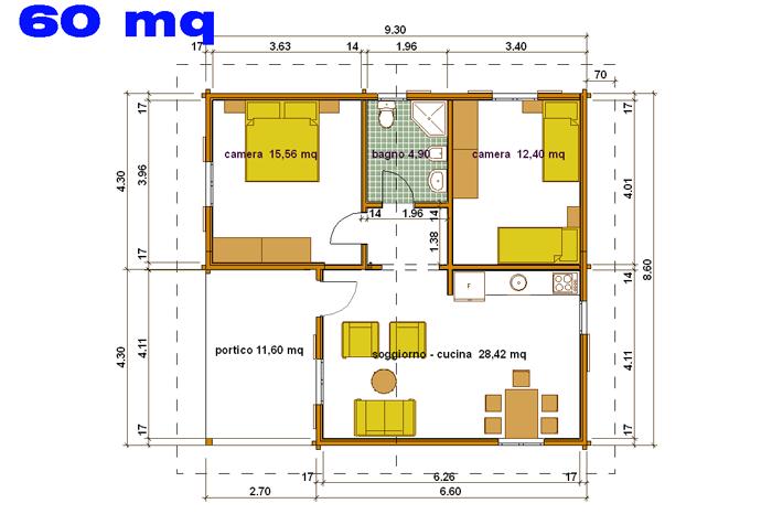 Progetto casa da 70 mq for Casa moderna 60 mq