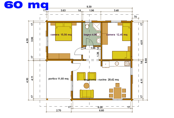 Arredare casa 60 mq md28 regardsdefemmes - Progetto casa 80 mq ...