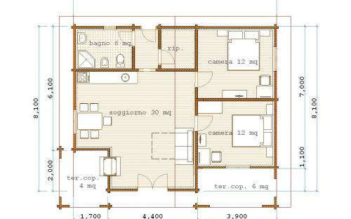 Pianta di una casa di 80 mq ispirazione di design per la - Planimetria casa 60 mq ...